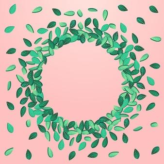 沼の葉有機ベクトルピンクの背景の背景。木の葉のポスター。緑の葉のハーブのパンフレット。緑のフライの壁紙。