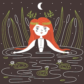 늪 소녀. 빨간 머리 마녀는 늪에서 수영합니다. 벡터 요정 그림