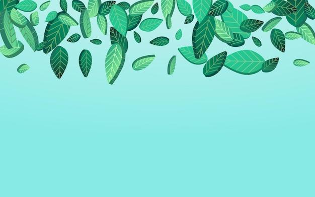 Болотный лист свежий вектор синий фон плакат. абстрактный фон листья. зеленая листва вихревой иллюстрации. зелень дерево завод.