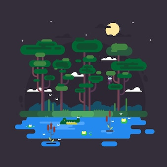 Swamp at night with alligator