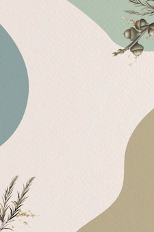 Swamp paperbark branch on minimal patterned background template