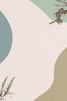 最小限のパターン化された背景テンプレートに紙の樹皮の枝を沼