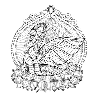 Swan coloring pages for adults