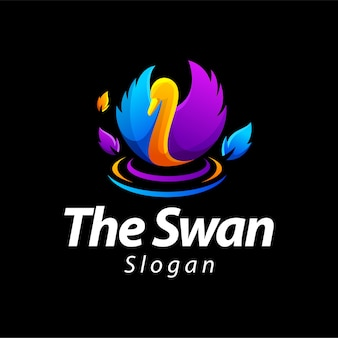 Swan gradient color logo design