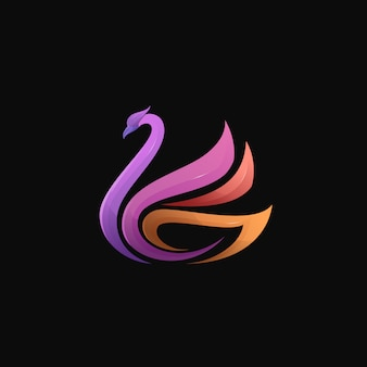 Swan gradient colorful modern bird logo illustration