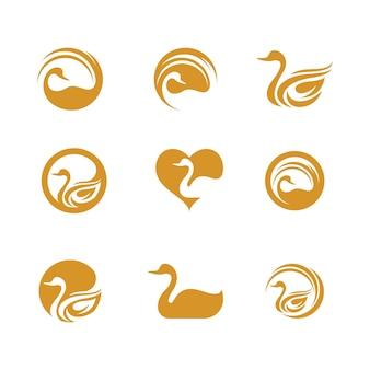 Лебедь значок шаблона векторные иллюстрации дизайн