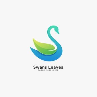 白鳥の葉のエレガントなイラストロゴ