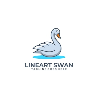 Шаблон swan line art индустрия