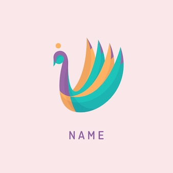 化粧品、スパのロゴテンプレートの白鳥のロゴ。幾何学模様のカラフルな白鳥のロゴ。