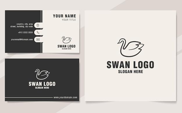Swan logo template on monogram style