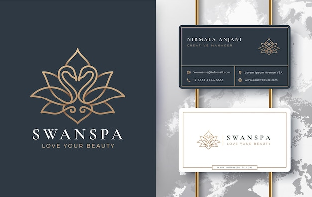 Swan lotus logo and business card design