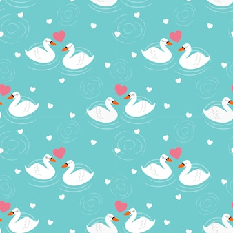 Swan lover seamless pattern.