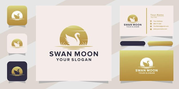 Swan moon logo and business card