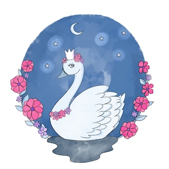 Swan princesshand drawn illustration