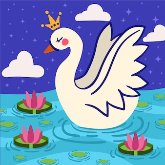 Swan princess illustrated concept