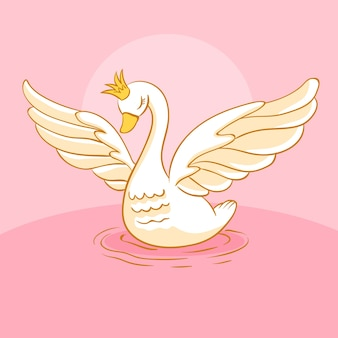 Swan princess illustrato design