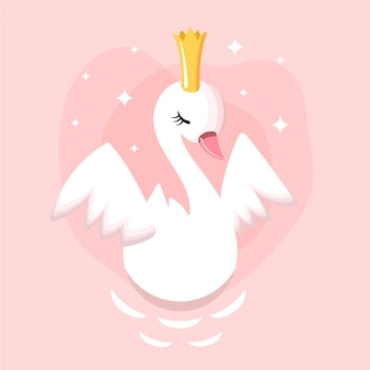 Swan princess illustration concept