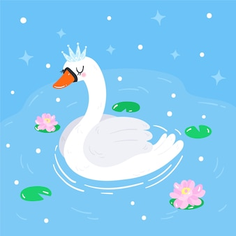 Swan princess illustration concept