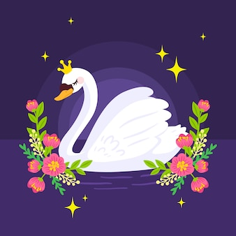 Swan princess in the night with flowers