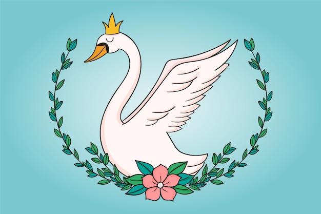 Лебединая принцесса с короной и цветком