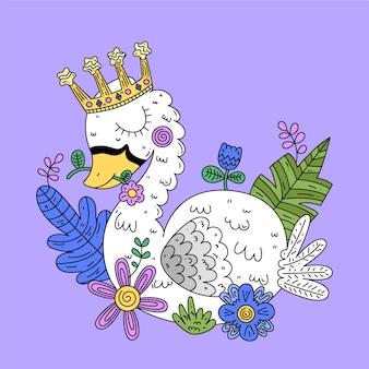 Principessa del cigno con soffici piume