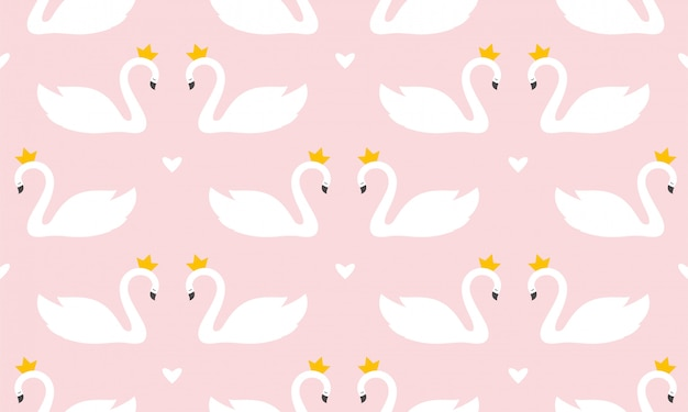 Swan print seamless pattern in pastel colors vector illustration