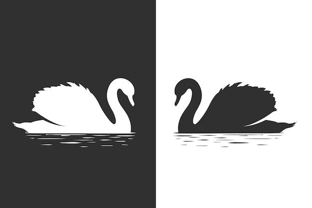 Концепция силуэт лебедя