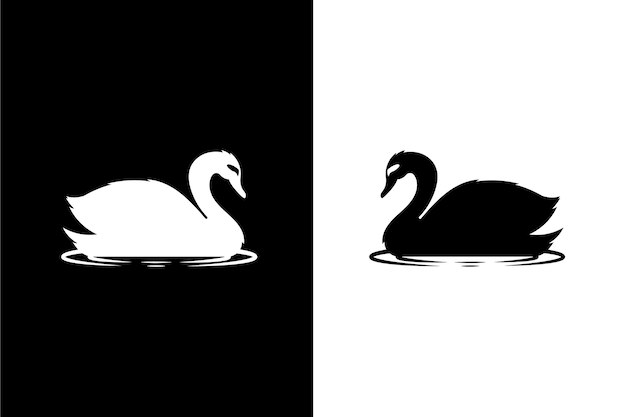 Swan silhouette illustrated concept