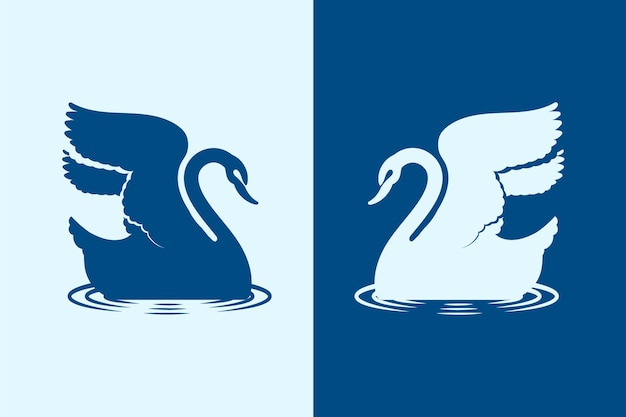 Swan silhouette illustrated theme