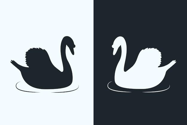 Силуэт лебедя в двух версиях