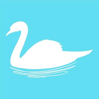 Силуэт лебедя на озере