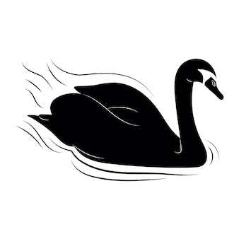 Swan sillhouette illustration on lake with waves