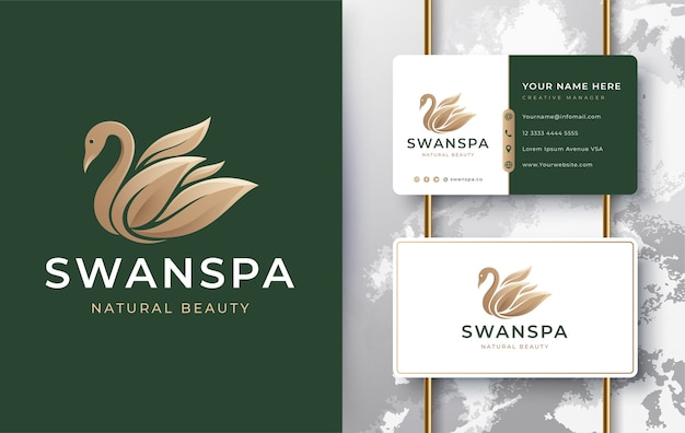 Swan spa logo with business card