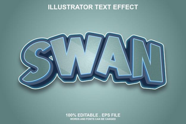 Лебедь текстовый эффект редактируемый