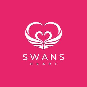 Шаблон логотипа swans heart, изолированные на розовом