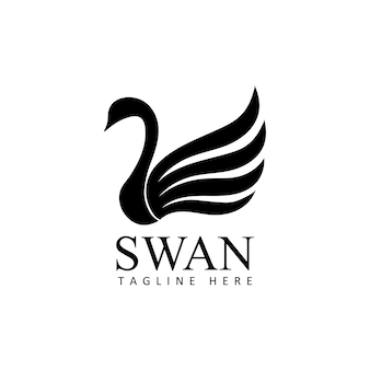 Swans logo template design vector in isolated background