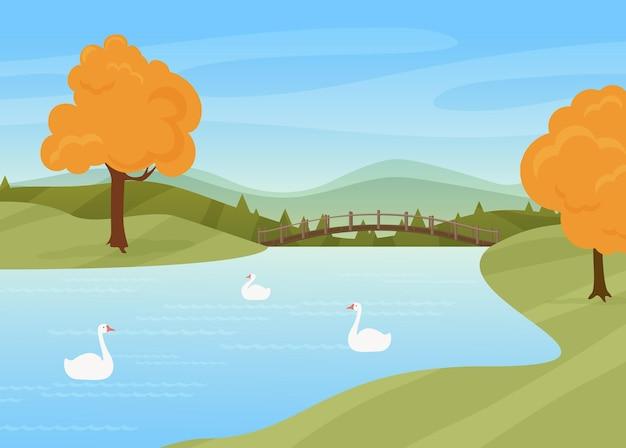 Лебеди плавают в реке сельской местности осенью летом природа пейзаж дикие птицы на водной поверхности мост