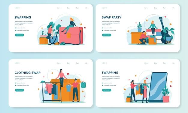 Swap party or flea market web banner or landing page set