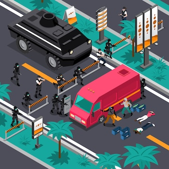 Swat in action isometric composition poster