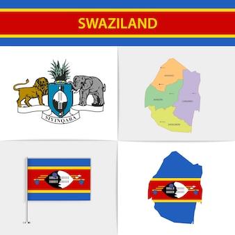 스와질란드 국기지도 및 국장