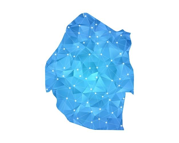 スワジランドマップラインドット多角形抽象的な幾何学。