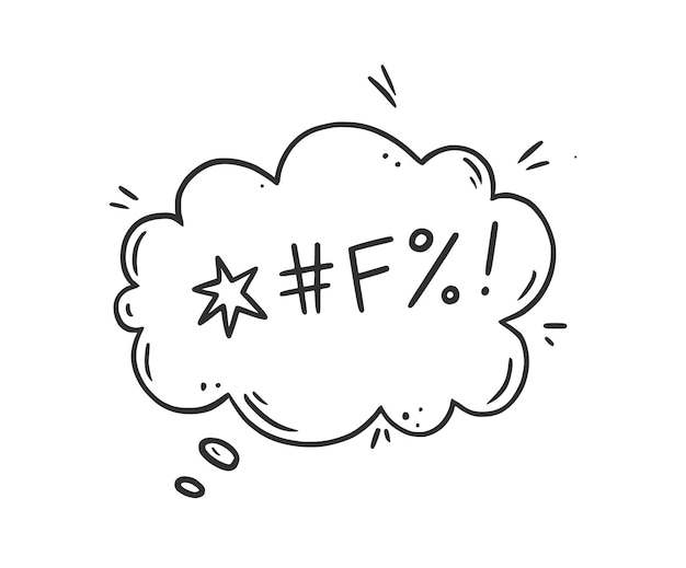 言葉の吹き出しを誓う。のろい、失礼、怒り、悪い、否定的な表現の言葉を誓う。手描き落書きスケッチスタイル。白い背景で隔離のベクトルイラスト。