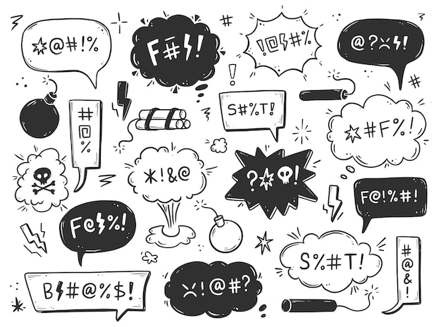 Swear word speech bubble set. curse, rude, swear word for angry, bad, negative expression. hand drawn doodle sketch style. vector illustration.