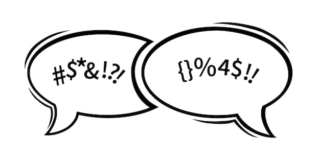 Swearing speech bubbles censored with symbols hand drawn swear words in text dialogue