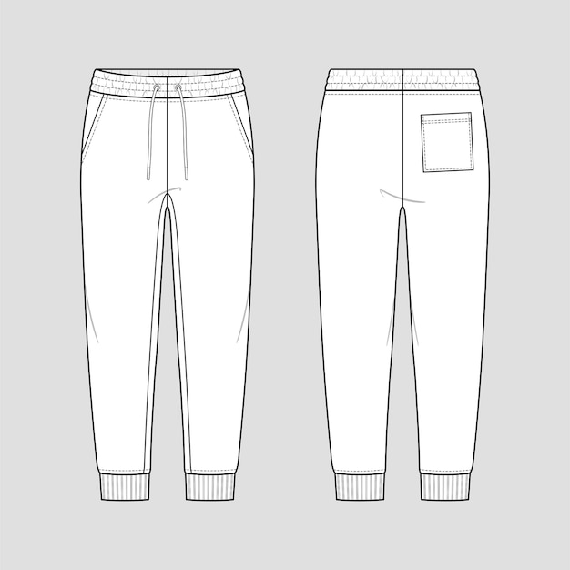 신축성있는 드로 스트링 허리가있는 편안한 스타일의 스웻 조깅 팬츠.