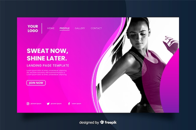 Sweat now shine later gym promotion landing page