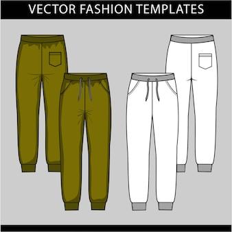스웨트 팬츠 패션. 플랫 스케치 벡터 템플릿, 조깅 바지, 앞면과 뒷면