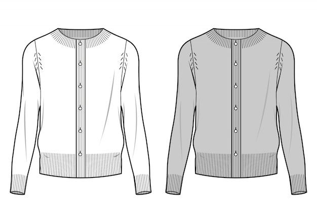Sweater cardigan fashion flat sketche template2