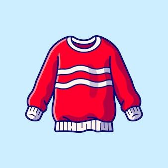 セーター漫画アイコンイラスト。分離されたファッションオブジェクトアイコンの概念。フラット漫画スタイル