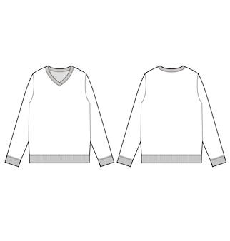 Sweater fashion flat technical drawing vector template